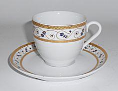 Konig Porcelain Bavaria Purple Floral W/gold Demi C/s