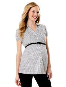 Short Sleeve Button Front Maternity Shirt