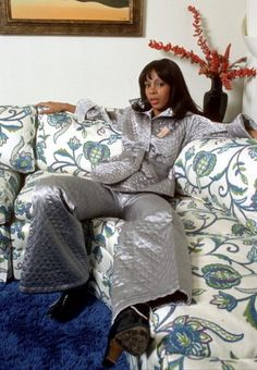 duchess of Disco (the late) Miss LaDonna Summer on the couch in her own home. She was Hot Stuff and She Works Hard For The Money.