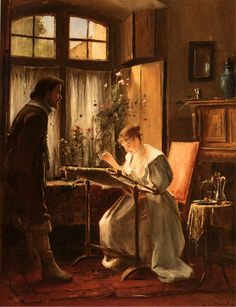 Oil painting Mihaly Munkacsy - Portraits Lady Seated at Her Needlework on canvas Art Du Fil, Earth Design, Sewing Art, Victorian Art, Oil Painting Reproductions, Beautiful Paintings, Cross Stitching, Female Art, Needlework