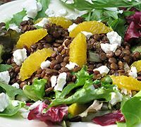 Lentil, Orange and Goat Cheese Salad with Warm Balsamic Dressing, a perfect meal on a @Meatless Monday Anolon.com