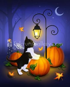 Items similar to Halloween Cat Art // Fall Pumpkin Patch // Autumn Twilight - on Etsy Retro Halloween, Chat Halloween, Halloween Themes, Fall Halloween, Halloween Decorations, Cute Halloween Pictures, Fall Pumpkins, Halloween Pumpkins, Halloween Wallpaper