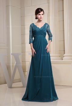 V-neck Lace Overlay Top Chiffon Dress