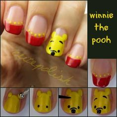 Cute Nail Tutorials for Your New Manicure - Pretty Designs : Pooh Bear Nails - this is too cute! Nail Art Disney, Disney Nail Designs, Cute Nail Designs, Pretty Designs, Simple Disney Nails, Nails For Kids, Girls Nails, Fancy Nails, Diy Nails
