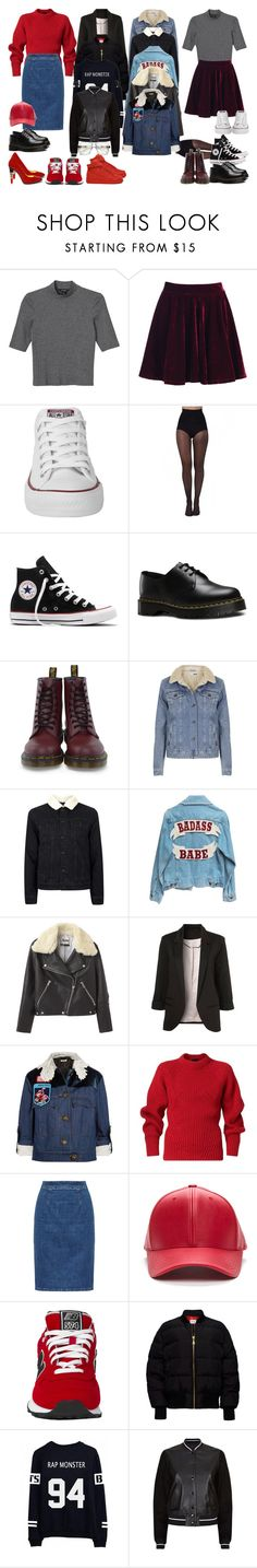 """Sem título #610"" by larieshine ❤ liked on Polyvore featuring Monki, Converse, Pretty Polly, Dr. Martens, Topshop, Acne Studios, Miu Miu, Burberry, Alberto Guardiani and New Balance"