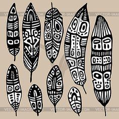 Этнические Set перо - иллюстрация в векторе