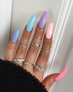 41 nail designs and ideas for coffin acrylic nails 7 Perfect Nails, Gorgeous Nails, Pretty Nails, Best Acrylic Nails, Acrylic Nail Designs, Acrylic Summer Nails Beach, Summer Nails Neon, Aycrlic Nails, Swag Nails