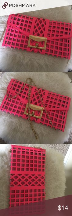 "Neon pink clutch Great condition. Worn once. 11"" width. 6"" height Other  Bags Clutches & Wristlets"