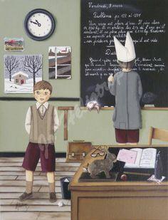 """Jo Héliotrope artiste peintre français huile sur toile 2008 """"Emilien l'écolier"""""""
