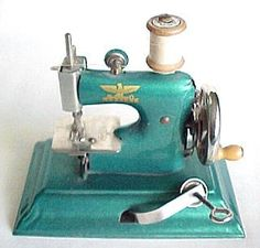 I had this sewing machine in cream and red.  Kept it for my daughter who never caught the sewing bug.  Luckily I also kept my old Barbies and Lego.