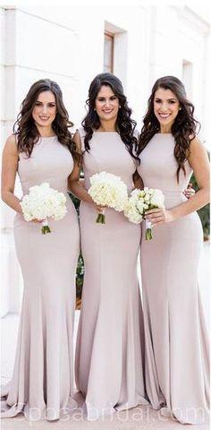 Sleeveless Mermaid Elegant Most Popular Long Fall Fashion Bridesmaid Dresses , WG554#Mismatched #bridesmaiddress #fall #bridesmaiddresses #bridesmaids #weddingguest #wedding #Modestbridesmaiddress #cheapdress #discount