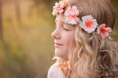The evening sky glowed with the soft light of the golden hour… (enhanced by smoke in the air from forest fires).  Sierra was more than happy to be a model for Mama.  Hair done, slip into a pretty n…