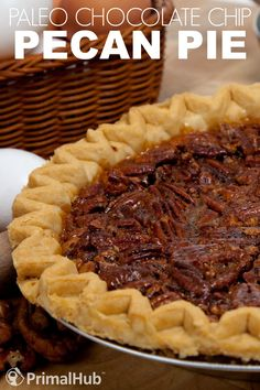 Paleo Chocolate Chip Pecan Pie #paleo #chocolatechip #glutenfree #pecan #pie #dessert
