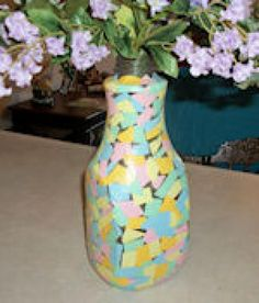 Mosaic Projects: Colorful Mosaic Vase
