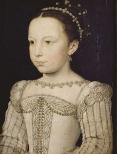 Marguerite de Valois, painted by Clouet in Musée Condé - Chantilly / France. Marguerite was the daughter of King Henry II of France and Catherine de' Medici