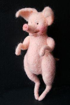 *NEEDLE FELT ART ~ pig doll  by Laleebu, via Flickr