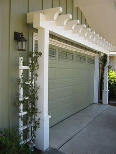 Garage Door Arbor great way to increase curb appeal is with an arbor over the garage door. A manual post hole digger i. Garage Door Arbor great way to increase curb appeal is with an arbor over the garage door. A manual post hole digger i. Style At Home, Door Arbor, Garage Pergola, Garage Trellis, Small Pergola, Modern Pergola, Pergola Patio, Pergola Screens, Front Porch Pergola