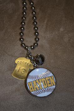 Custom Baseball Jersey Charm Necklace-baseball  mom  custom  jersey  charm  stamped  necklace