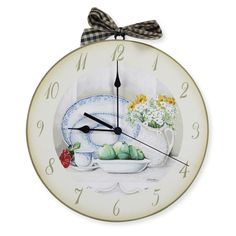 Orologio dipinto a mano, Wooden hand-painted clock
