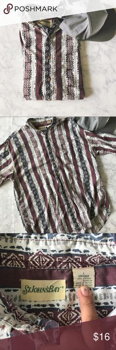 Casual Patterned Button Down St.Johns Bay Casual Button Down in perfect condition! Has a super cool pattern and colors! Measurements:L-27in. W-24in. 💕 St. John's Bay Shirts Casual Button Down Shirts