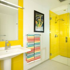 White and yellow bathroom colors for small bathroom remodel New Bathroom Designs, Modern Bathroom Design, Bathroom Interior, Bathroom Ideas, Bathroom Updates, Bathroom Makeovers, Bath Design, Bath Ideas, Bathroom Remodeling