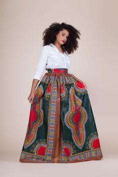 Green Dashiki Maxi Skirt - Grass-Fields
