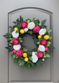 Pink Peony and Lemon Summer Wreath, Summer Door Wreaths, Lemon Wreaths for Front Door, Wreaths for Front Door Summer, Summer Lemon Wreath Double Door Wreaths, Summer Door Wreaths, Fall Wreaths, Ribbon Wreaths, Floral Wreaths, Burlap Wreaths, Pink Peonies, Peony, Pink Flowers