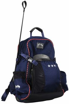 Designed for the star rider, this attractive backpack can accommodate all of your riding needs, keeping them organized and in one convenient portable location! With its eye-catching navy color and red