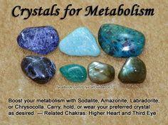 Crystals for Metabolism - sodalite, amazonite, labradorite, or chrysocolla