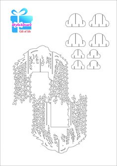 Willow Tree pop up card/kirigami pattern 2 Pop Up Card Templates, Origami Templates, Place Card Template, Birthday Card Template, Origami And Kirigami, Greeting Card Template, Templates Printable Free, Birthday Cards, Business Templates