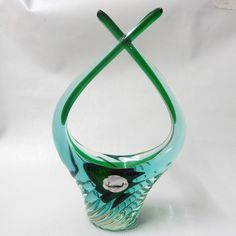 Murano green/turquoise J.I.Co glass bowl/dish/basket. 50s cased ribbed Sommerso