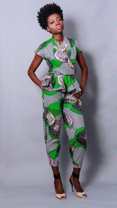 NEW The Sheba Peplum Top and Pants Set (2 pcs) 100% Holland Wax Cotton via Etsy
