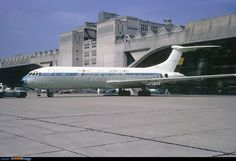 Ghana Airways Vickers Standard VC10 (Series 1100) 9G-ABO at the BOAC maintenance hangar, London Heathrow.