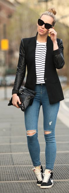 Black And White Sneakers Streetstyle by Brooklyn Blonde