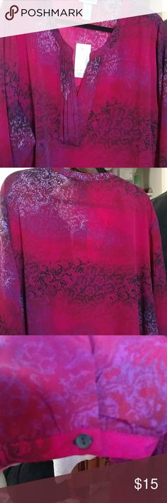 Plus size multi pink blouse. NWT Nice pretty blouse with tags. 3/4 length blouse...pleated neckline. Catherines Tops Blouses