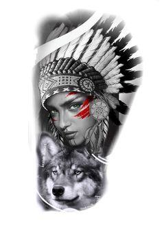 Half Sleeve Tattoos Drawings, Native American Girls, War Bonnet, Geometric Tattoo Arm, Headdress, Girl Tattoos, Nativity, Portrait Photography, Black And Grey
