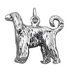 """Sterling Silver Womens 30"""" 1mm Box Chain 3D Afghan Hound Dog Breed Animal Pendant Necklace. 925 Sterling Silver Jewelry. Made In The USA!."""
