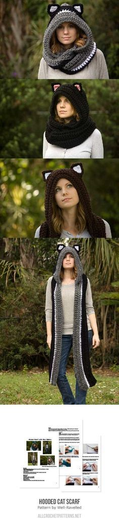 Hooded cat scarf crochet pattern by Well-Ravelled ☂ᙓᖇᗴᔕᗩ ᖇᙓᔕ☂ᙓᘐᘎᓮ http://www.pinterest.com/teretegui
