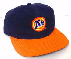 vtg TIDE LOGO HAT  Navy-Blue & NEON ORANGE Detergent Advertising Racing Snapback #Tide #BaseballCap