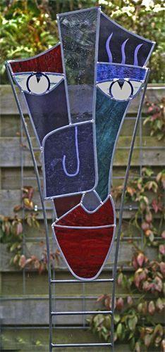 tuinobject 40 x 200 cm : glas in lood kop op standaard  Aparte standaard