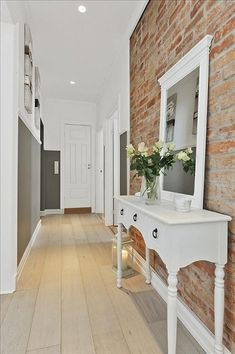Really want an exposed brick wall in my home Hallway Inspiration, Home Decor Inspiration, Design Inspiration, Design Ideas, Decor Ideas, Hallway Decorating, Interior Decorating, Interior Design, Interior Ideas