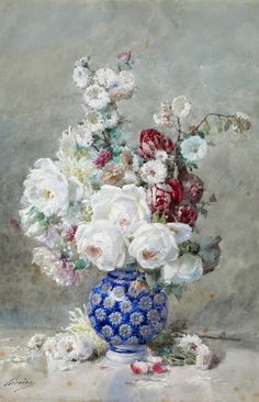 Flowers in a blue vase by Francois Rivoire