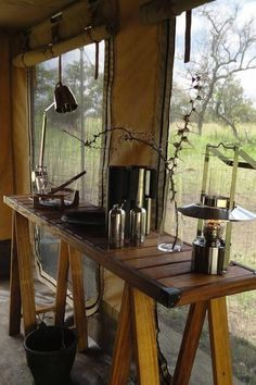 10 Great Places to Travel This Summer silver/metal, rough textures, neutrals glamping in the serengeti mobile tented camp Glamping, Tent Camping, Outdoor Camping, Luxury Tents, Luxury Camping, Camping Ideas, Great Places To Travel, British Colonial Decor, Vintage Safari