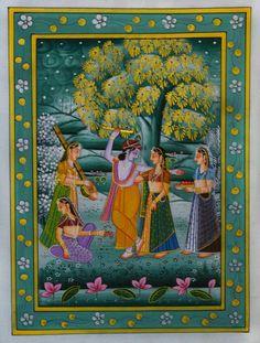 Orange miniature Traditional Art by Unknown on Silk, Religious based on theme ECraft Krishna Leela, Krishna Radha, Lord Krishna, Orange Painting, Silk Painting, Indiana, Mughal Miniature Paintings, Rain Art, Traditional Artwork