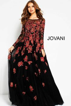 831d5ae458136 Black Red Floral Embroidered Long Sleeves Evening Gown 53088