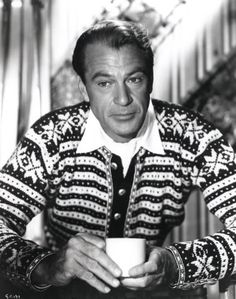 Gary Cooper w/ coffee and intense sweater