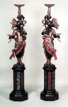 Italian Venetian figure blackamoor polychromed