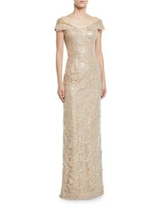 Get free shipping on Rickie Freeman for Teri Jon Off-the-Shoulder  Embroidered Lace 899e92f7d