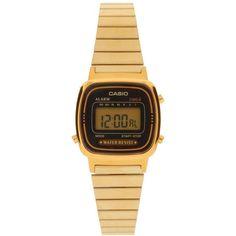 Casio Black & Gold Mini Digital Watch LA670WEGA-1EF (£56) ❤ liked on Polyvore featuring jewelry, watches, accessories, bracelets, relojes, black, alarm chrono watch, casio watches, gold wrist watch and gold watches