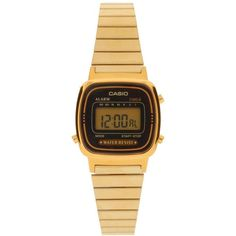 Casio Black & Gold Mini Digital Watch LA670WEGA-1EF (£56) ❤ liked on Polyvore featuring jewelry, watches, accessories, bracelets, relojes, black, alarm chrono watch, casio watches, gold wrist watch and gold watches